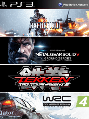 4 juegos en 1 battlefield 4 + metal gear solid v ground zeroes + tekken tag tournament 2 + wrc 4 fia world rally championship ps3