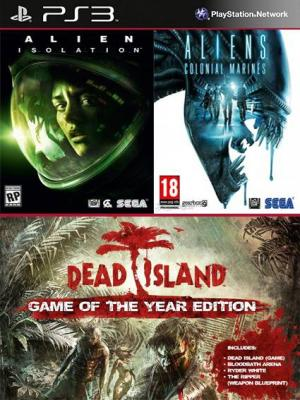3 juegos en 1 Alien Isolation Mas Aliens Colonial Marines Mas Dead Island Game of the Year Edition Bundle Ps3