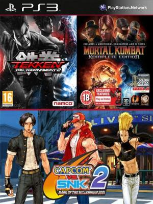 3 juegos en 1 TEKKEN TAG TOURNAMENT 2 Mas Mortal Kombat Komplete Edition Mas Capcom vs. SNK 2 Mark of the Millennium 2001