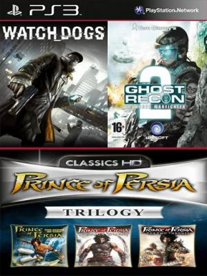 5 juegos en 1 Watch Dogs Mas Tom Clancys G.R.A.W 2 Mas Prince of Persia Trilogy HD PS3