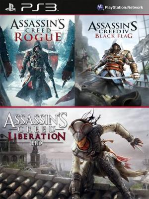 3 juegos en 1 Assassins Creed Liberation HD Mas Assassins Creed Rogue Mas Assassins Creed IV Black Flag Ps3