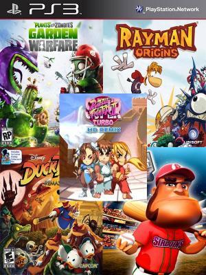 5 JUEGOS EN 1 Plants vs. Zombies Garden Warfare Rayman Origins Mas DuckTales Remastered Mas SUPER MEGA BASEBALL Mas Super Puzzle Fighter II Turbo HD Remix PS3