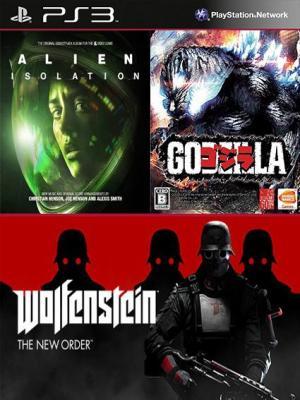 3 juegos en 1 Alien Isolation Mas Wolfenstein The New Order Mas Godzilla Edición Digital PS3