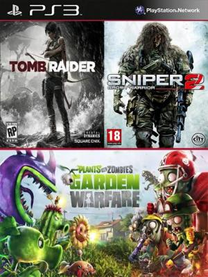3 juegos en 1 Tomb Raider Digital Edition Mas Sniper Ghost Warrior 2 Mas Plants vs. Zombies Garden Warfare PS3