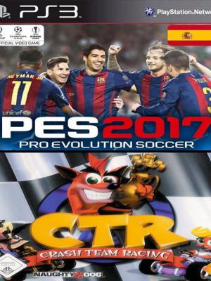 2 en 1 Pro Evolution Soccer 2017 mas Crash Team Racing (CTR)