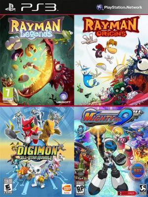 4 juegos en 1 Rayman Legends Rayman Origins Digimon All-Star Rumble Mighty 9 Ps3