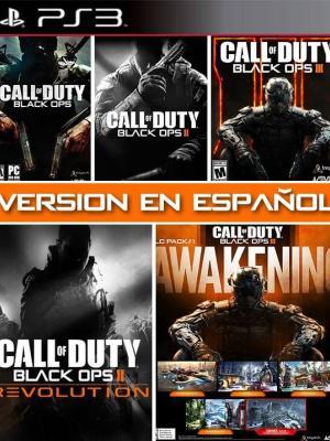 3 Juegos en 1 mas 2 DLC Call of Duty Black Ops COLLECCION VERSIONES EN ESPAÑOL ps3