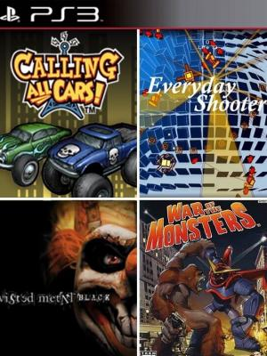 4 JUEGOS EN 1 Twisted Metal Black + Calling All Cars + Everyday Shooter + War of the Monsters PS3