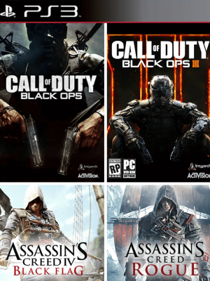 4 juegos en 1 Call of Duty Black Ops III  mas Call of Duty Black Ops  mas Assassins Creed Rogue mas Assassins Creed IV Black Flag