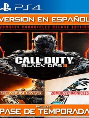 Call of Duty Black Ops III MAS DLC Zombies Chronicles MAS PASE DE TEMPORADA FULL ESPAÑOL PS4 PRIMARIA
