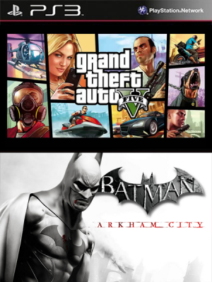2 juegos en 1 Grand Theft Auto V Mas Batman Arkham City