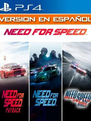3 JUEGOS EN 1 NEED FOR SPEED PAYBACK MAS NEED FOR SPEED MAS NEED FOR SPEED RIVALS PS4
