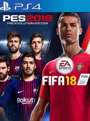 2 juegos en 1 PES 2018 mas FIFA 2018 PS4 Primaria