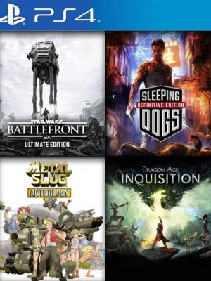 4 JUEGOS EN 1  EDICIÓN ULTIMATE DE STAR WARRS BATTLEFRONT MAS SLEEPING DOGS DEFINITIVE EDITION MAS METAL SLUG ANTHOLOGY MAS DRAGON AGE: INQUISITION