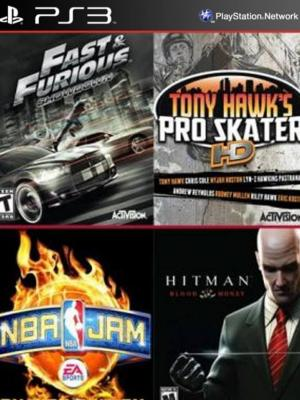4 juegos en 1 Fast Furious Showdown Mas NBA JAM On Fire Edition Mas Tony Hawks Pro Skater HD Mas Hitman Blood Money HD Ps3