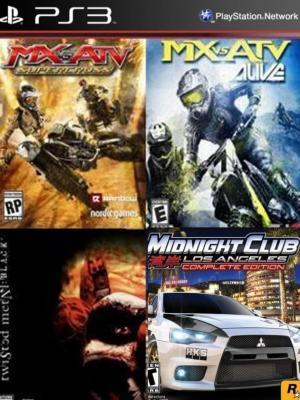 4 juegos en 1 MX vs. ATV Supercross Mas MX vs ATV Alive Mas Twisted Metal Black Mas Midnight Club Los Angeles Complete Edition