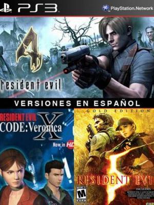 3 juegos en 1 Resident Evil 4 Mas RESIDENT EVIL CODE: Veronica X Mas RESIDENT EVIL 5 GOLD EDITION Ps3