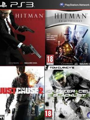 4 juegos en 1 Hitman Trilogy HD Mas Hitman Absolution Special Edition Mas Just Cause 2 Ultimate Edition Mas Tom Clancys Splinter Cell Blacklist