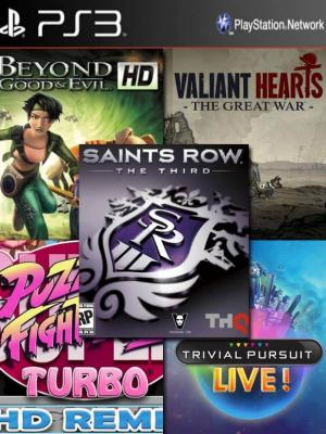 5 juegos en 1 Beyond Good & Evil  HD mas Valiant Hearts: The Great War mas Saints Row: The Third mas Puzzle Fighter HD mas TRIVIAL PURSUIT LIVE ps3