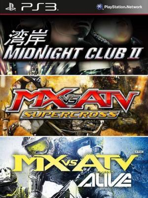 3 juegos en 1 Midnight Club 2 mas MX vs. ATV: Supercross mas MX vs ATV: Alive  ps3