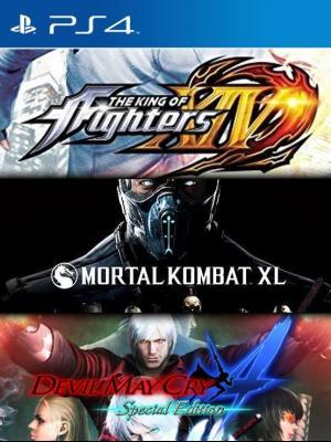3 Juegos en 1 Mortal Kombat XL   mas THE KING OF FIGHTERS XIV  mas Devil May Cry 4 Special Edition Ps4 Primaria