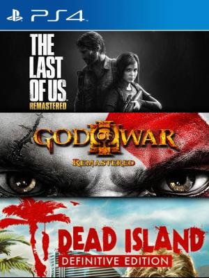3 juegos en 1 The Last of Us Remastered  mas God of WarIII Remasterizado mas Dead Island Definitive Edition ps4 Primaria