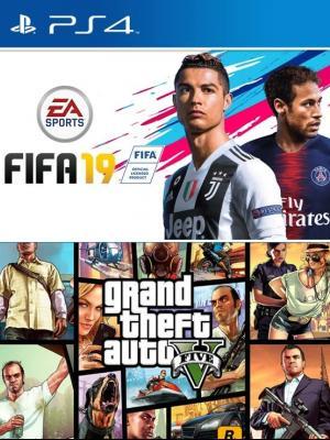 2 JUEGOS EN 1 FIFA 19 MAS GTA V PS4 PRIMARIA