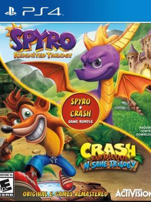 2 JUEGOS EN 1 Spyro MAS Crash Remastered Game Bundle PS4 PRIMARIA